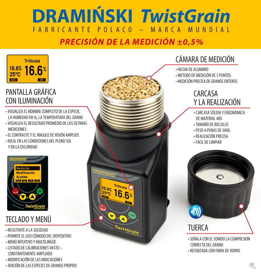 El indicador de humedad del grano DRAMIŃSKI TWISTGRAIN garantiza una medición rápida y Precisa de la humedad del grano con una abundante lista de calibración